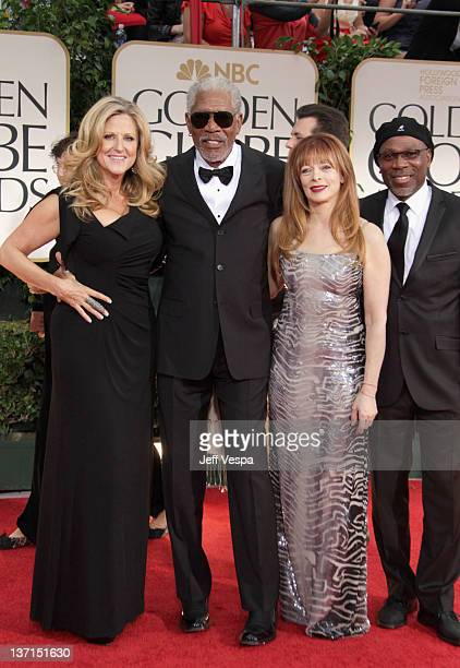 Producer Lori McCreary actor Morgan Freeman actress Frances Fisher and actor Alfonso Freeman arrive at the 69th Annual Golden Globe Awards held at...