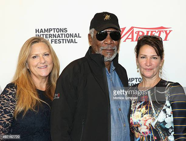 Producer Lori McCreary Executive Producer Narrator Morgan Freeman Director Writer Producer Meghan O'Hara with the film 'The C Word' attend Variety 10...
