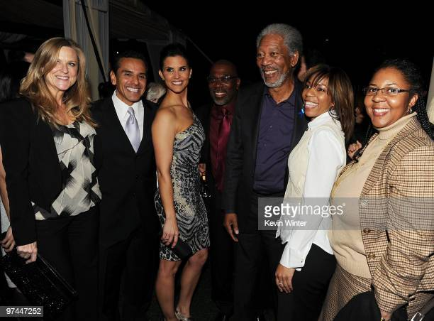 Producer Lori McCreary Los Angeles Mayor Antonio Villaraigosa Broadcast journalist Lu Parker actor Alfonso Freeman actor Morgan Freeman Morgana...