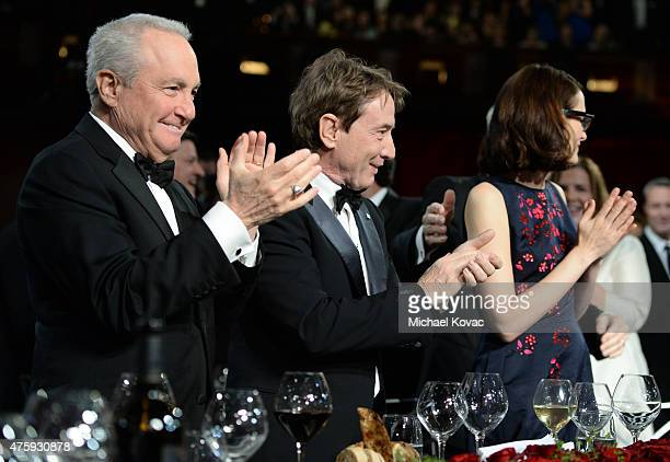 Producer Lorne Michaels actor Martin Short and writer Anne Stringfield attend the 43rd AFI Life Achievement Award Gala honoring Steve Martin at Dolby...