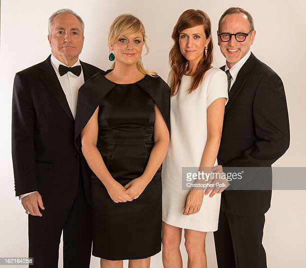 Producer Lorne Michaels actresses Amy Poehler Kristen Wiig and Costume Designer Tom Broecker pose for a portrait during the 15th Annual Costume...