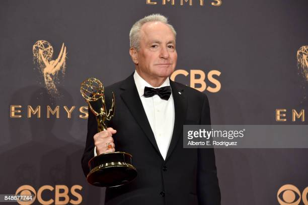 Producer Lorne Michaels, winner of the award for Outstanding Variety/Sketch Series for 'Saturday Night Live,' poses in the press room during the 69th...