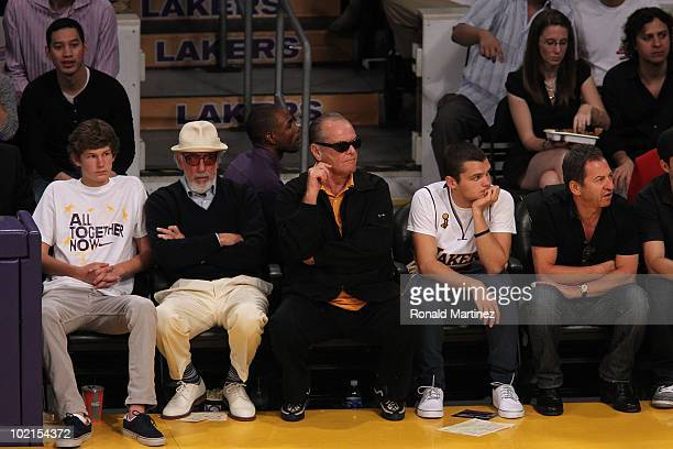 Producer Lou Adler actor Jack Nicholson and his son Raymond attend Game Two of the 2010 NBA Finals between the Boston Celtics and the Los Angeles...