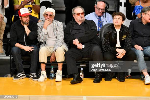 Producer Lou Adler and Jack Nicholson attend a basketball game between the Los Angeles Lakers and the Houston Rockets at Staples Center on October 20...