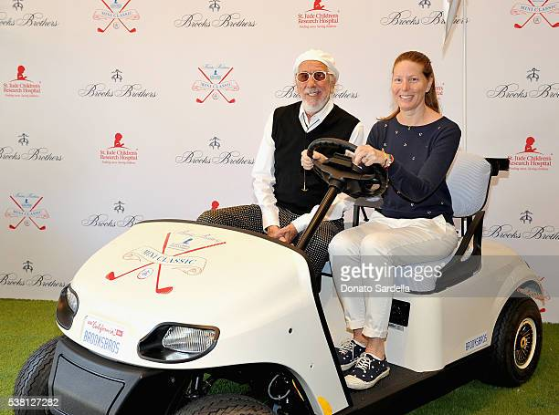Producer Lou Adler and Page Hannah attend Brooks Brothers Mini Classic to Benefit St. Jude Children's Research Hospital at Brooks Brothers Beverly...