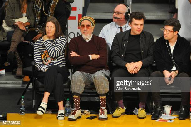 Producer Lou Adler and Ray Nicholson attend a basketball game between the Los Angeles Lakers and the Philadelphia 76ers at Staples Center on November...