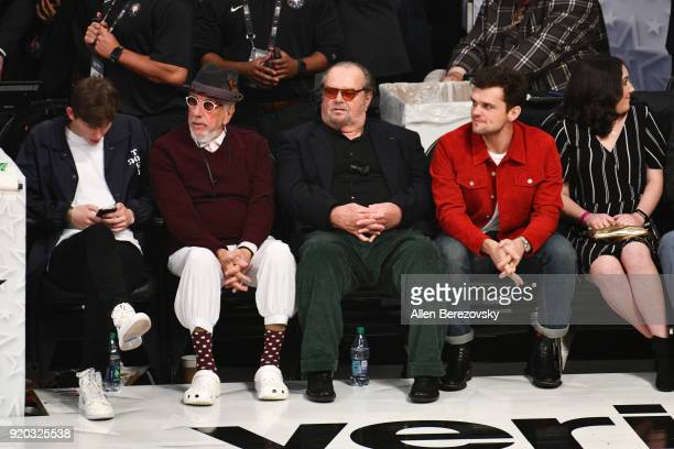 Producer Lou Adler Jack Nicholson and Ray Nicholson attend The 67th NBA AllStar Game Team LeBron Vs Team Stephen at Staples Center on February 18...