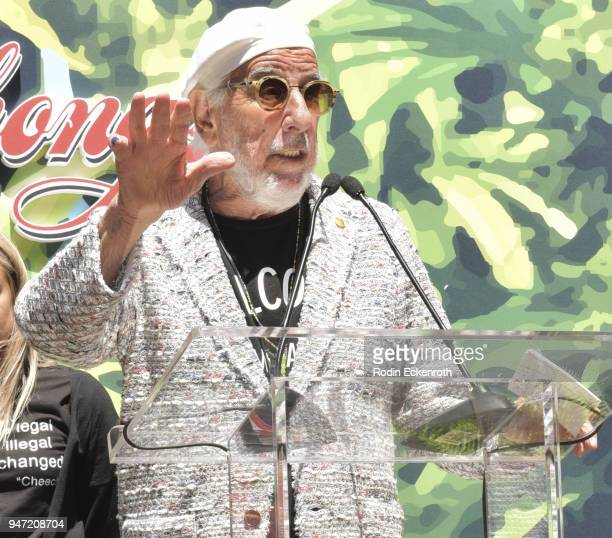 Producer Lou Adler speaks onstage at Cheech Marin and Tommy Chong Key to The City of West Hollywood Award Ceremony at The Roxy Theatre on April 16...