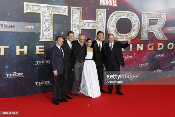 Producer Louis D'Esposito actor Tom Hiddleston director Alan Taylor actor Chris Hemsworth and producer Kevin Feige attend the 'Thor The Dark World'...