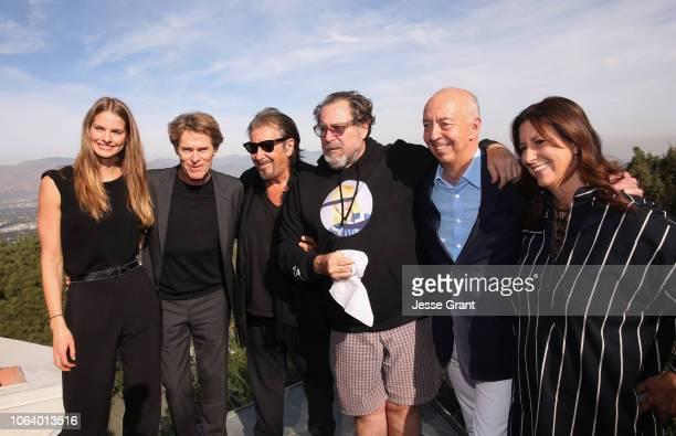 Producer Louise Kugelberg actor Willem Dadoe actor Al Pacino director Julian Schnabel Benedikt Taschen and Lauren Taschen attend a Brunch Celebrating...