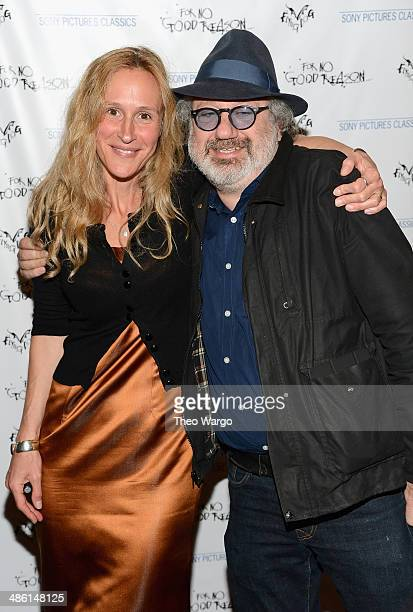 Producer Lucy Paul and music producer Hal Willner attend the For No Good Reason screening at AMC Loews 19th Street Theater on April 22 2014 in New...