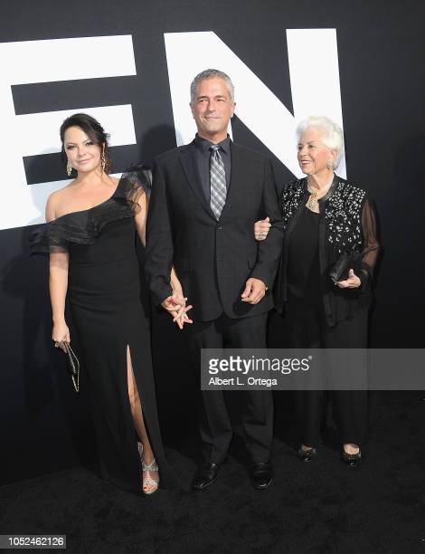 Producer Malek Akkad wife Angelina and mother arrive for the Universal Pictures' Halloween Premiere held at TCL Chinese Theatre on October 17 2018 in...