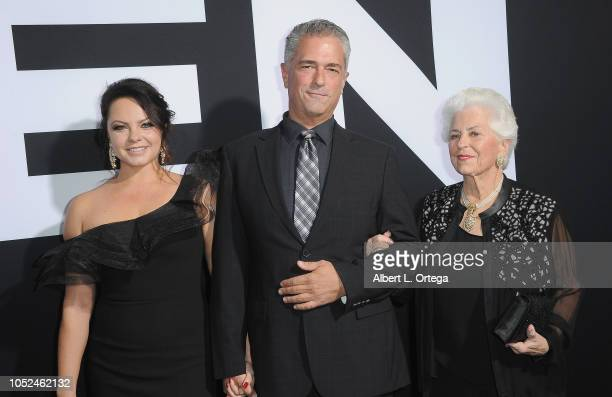 Producer Malek Akkad wife Angelina and mother arrive for the Universal Pictures' 'Halloween' Premiere held at TCL Chinese Theatre on October 17 2018...