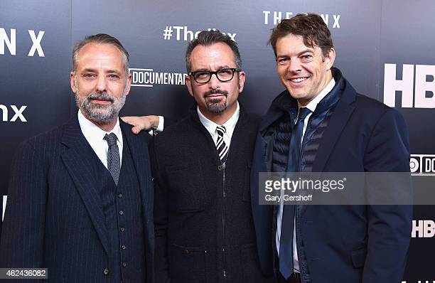 Producer Marc Smerling director Andrew Jarecki and executive producer Jason Blum attend The Jinx New York Premeire at Time Warner Center on January...