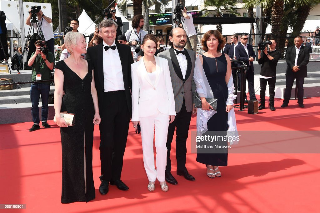 Producer Marianne Slot, writer, director Sergei Loznitsa, actress Vasilina Makovtseva, actor Valeriu Andriuta and producer Carine Leblanc attends 'A Gentle Creature (Krotkaya)' premiere during the 70th annual Cannes Film Festival at Palais des Festivals on May 25, 2017 in Cannes, France.