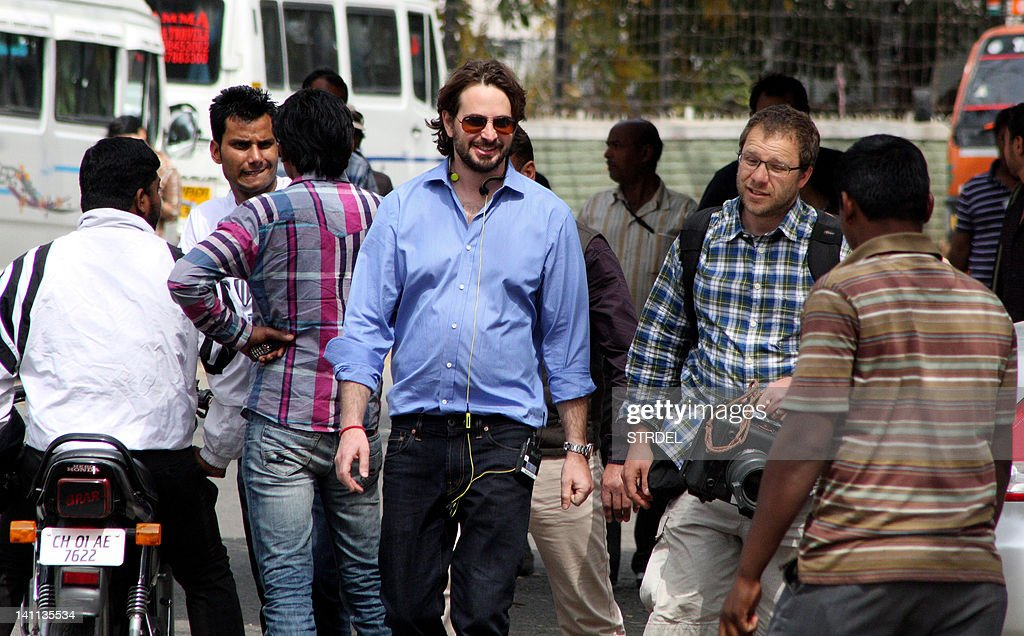Producer Mark Boal arrives on the set of Kathryn Bigelow`s forthcoming film on Osama bin Laden in Chandigarh on March 11 2012 Under the working title.