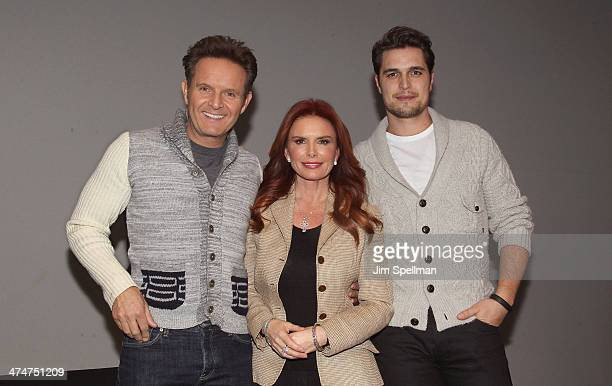 Producer Mark Burnett actress/producer Roma Downey and actor Diogo Morgado attend Meet The Filmmakers at Apple Store Soho on February 24 2014 in New...