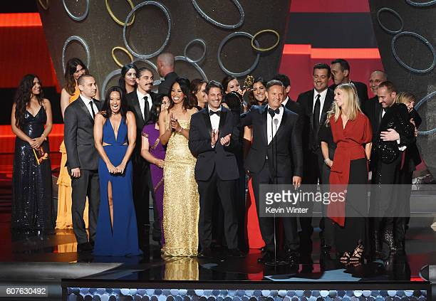 Producer Mark Burnett and production team accept Outstanding RealityCompetition Program for 'The Voice' onstage during the 68th Annual Primetime Emmy...