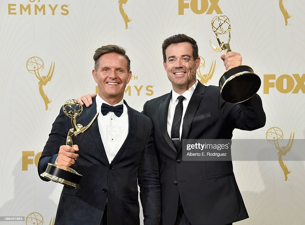Producer Mark Burnett (L) and tv personality Carson Daly, winners of Outstanding Reality-Competition Program for 'The Voice', pose pose in the press room at the 67th Annual Primetime Emmy Awards at Microsoft Theater on September 20, 2015 in Los Angeles, California.
