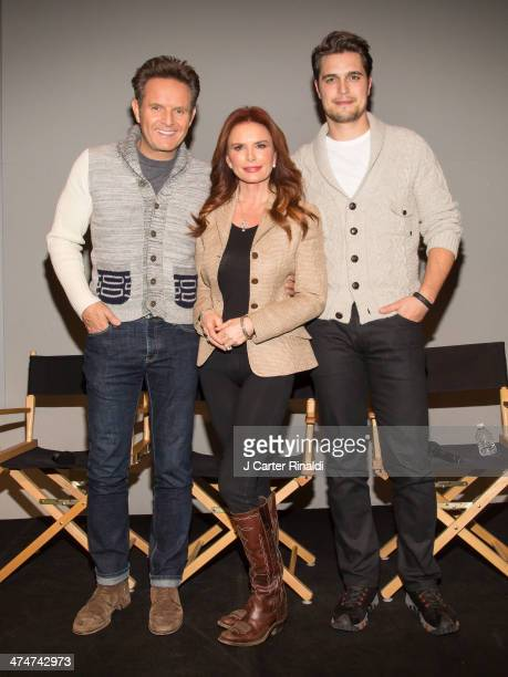 Producer Mark Burnett producer/actress Roma Downey and actor Diogo Morgado attend Meet The Filmmakers at Apple Store Soho on February 24 2014 in New...