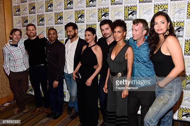 Producer Mark Fergus with actors Wes Chatham producer Naren Shankar Cas Anvar Shohreh Aghdashloo Steven Strait Dominique Tipper Thomas Jane and...