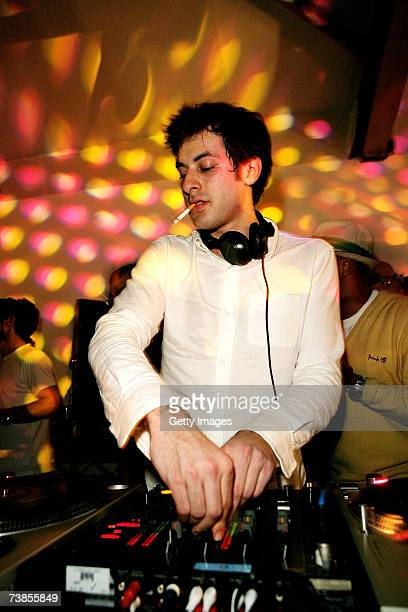 DJ producer Mark Ronson plays at the launch party for his new album Version due for release on April 16 at Allsopp Wedel gallery on April 10 2007 in...