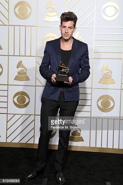 Producer Mark Ronson winner of Best Pop Duo/Group Performance for Uptown Funk poses in the press room during The 58th GRAMMY Awards at Staples Center...
