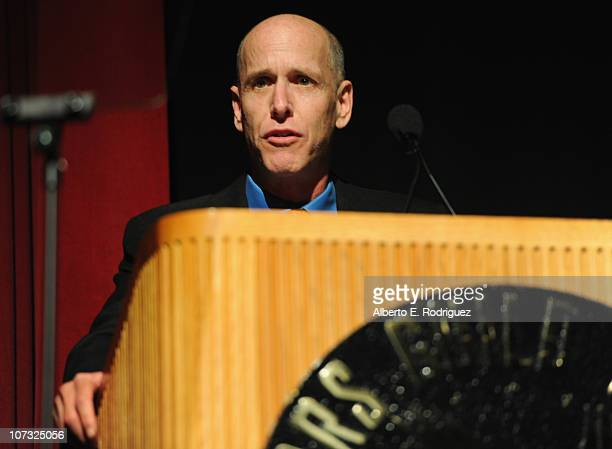 Producer Mark Wolper speaks at the International Documentary Association's 26th annual awards ceremony at the Directors Guild Of America on December...