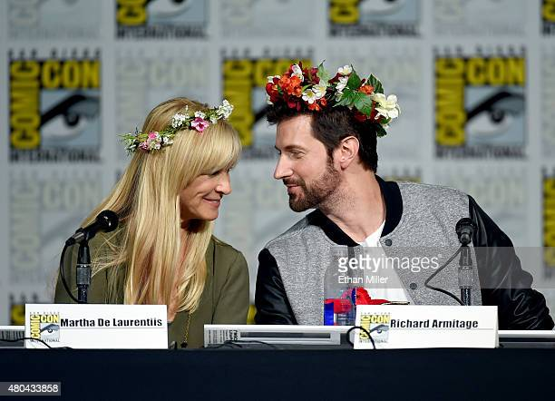 Producer Martha De Laurentiis and actor Richard Armitage attend the Hannibal Savor the Hunt panel during ComicCon International 2015 at the San Diego...