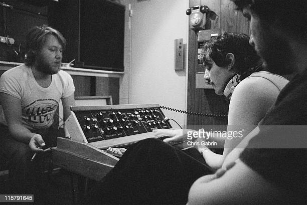 Producer Martin Rushent with keyboard player Dave Greenfield and drummer Jet Black of The Stranglers, during recording of their second album 'No More...