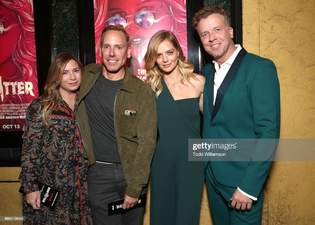 Producer Mary Viola, Netflix's Director of Acquisitions Matt Brodlie, Samara Weaving and McG attend the Los Angeles Premiere of 'The Babysitter' on October 11, 2017 in Los Angeles, California.