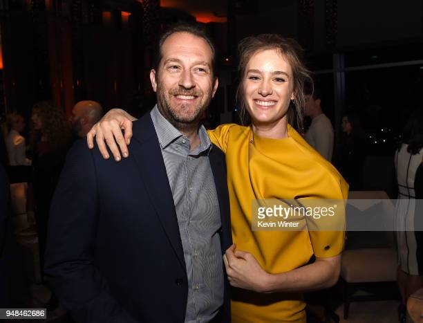 Producer Mason Novick and actress Mackenzie Davis pose at the after party for the premiere of Focus Features' 'Tully' at WP24 on April 18 2018 in Los...