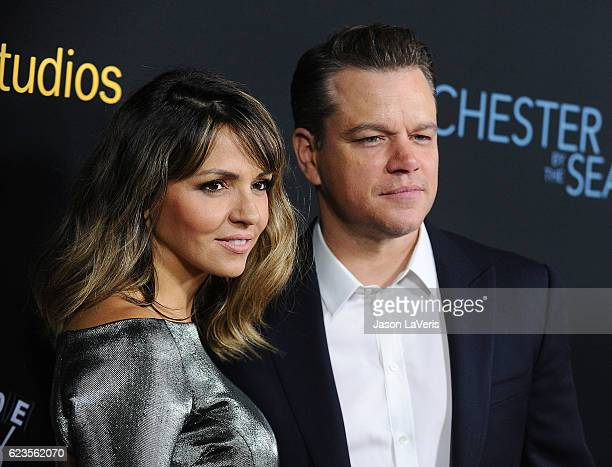 Producer Matt Damon and wife Luciana Damon attend the premiere of 'Manchester by the Sea' at Samuel Goldwyn Theater on November 14 2016 in Beverly...