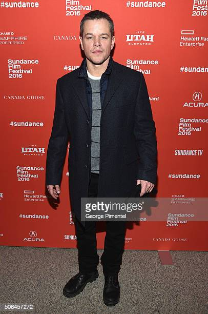 Producer Matt Damon attends the 'Manchester By The Sea' Premiere during the 2016 Sundance Film Festival at Eccles Center Theatre on January 23 2016...