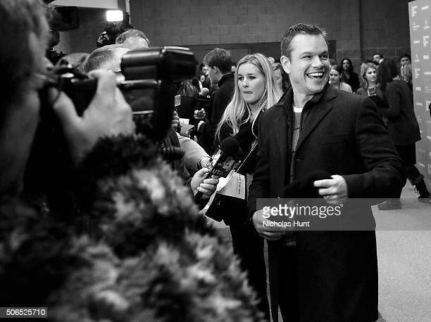 Image converted to black white Producer Matt Damon attends the 'Manchester By The Sea' Premiere during the 2016 Sundance Film Festival at Eccles...
