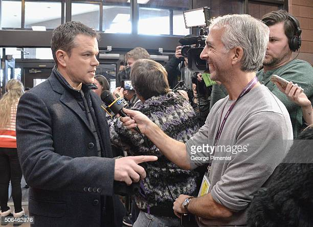 Producer Matt Damon is interviewed at the 'Manchester By The Sea' Premiere during the 2016 Sundance Film Festival at Eccles Center Theatre on January...