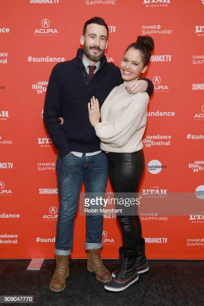 Producer Matt Leslie and Actor Susie Castillo attend the 'Summer Of '84' Premiere during the 2018 Sundance Film Festival at Park City Library on...