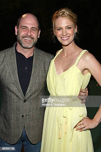 Producer Matt Weiner and actress January Jones attend the World Oceans Day celebration hosted by La Mer and Oceana at Private Residence on June 8...