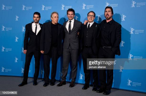 Producer Matthew Budman US producer Charles Roven US actor Bradley Cooper US director David O Russell and British actor Christian Bale pose during...
