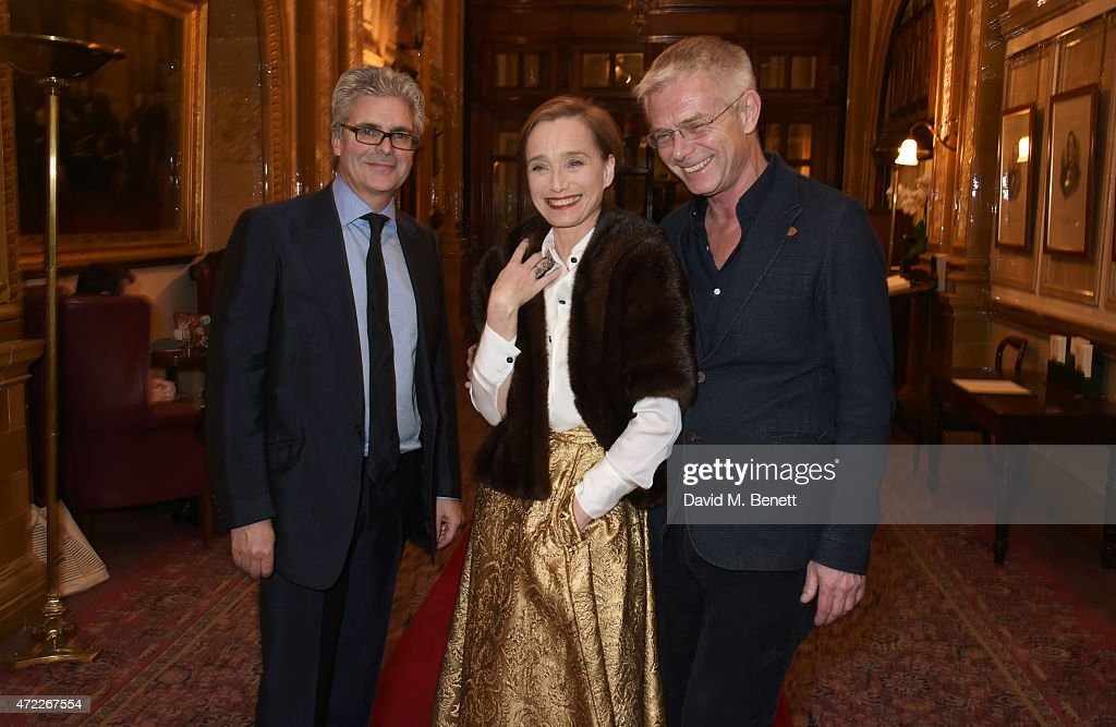 Producer Matthew Byam Shaw, Dame Kristin Scott Thomas and director Stephen Daldry attend an after party following the press night performance of 'The Audience' at The Royal Horseguards Hotel on May 5, 2015 in London, England.