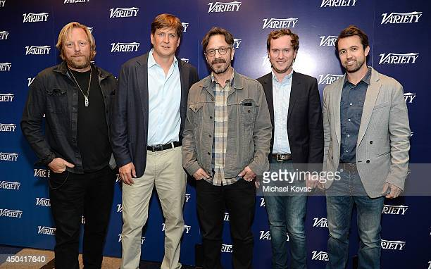 Producer Matthew Carnahan, writer Bill Lawrence, comedian Marc Maron, showrunner Matt Warburton, and actor Rob McElhenney attend Variety's A Night in...