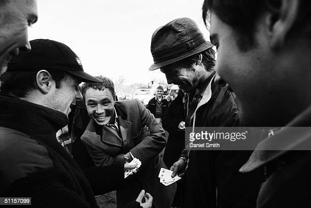 Producer Matthew Vaughn with actors Stephen Graham and Brad Pitt are photographed on location during the filming of Guy Ritchie's 2nd film 'Snatch'...