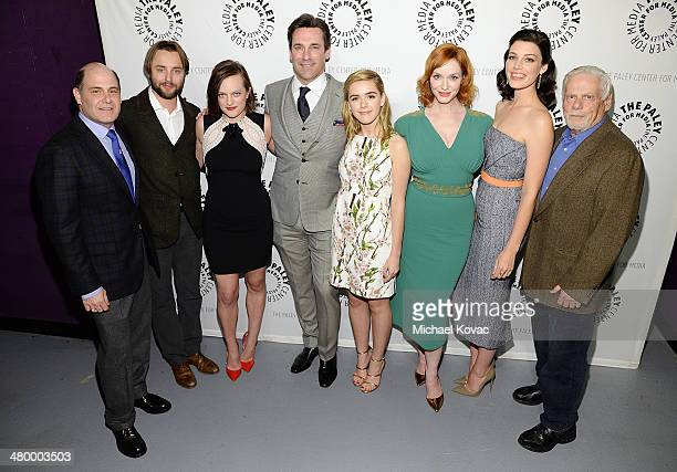 Producer Matthew Weiner actors Vincent Kartheiser Elisabeth Moss Jon Hamm Kiernan Shipka Christina Hendricks Jessica Pare and Robert Morse attend The...