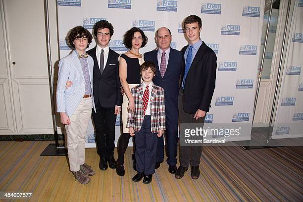 Producer Matthew Weiner poses with wife Linda Brettler and children at the ACLU of Southern California's 90th Anniversary Bill of Rights Dinner at...