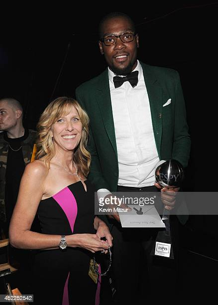 Producer Maura Mandt and NBA player Kevin Durant attend The 2014 ESPY Awards at Nokia Theatre LA Live on July 16 2014 in Los Angeles California