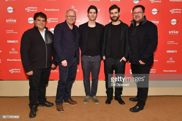 Producer Mauricio Dias Directors Hans Block and Moritz Riesewieck and Producer Reinhardt Beetz at 'The Cleaners' Premiere during the 2018 Sundance...