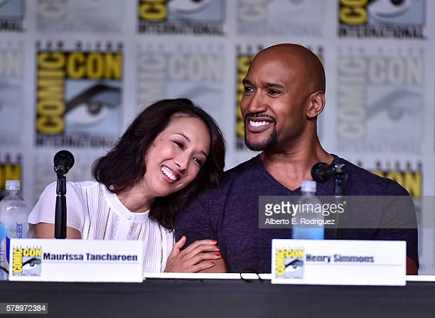Producer Maurissa Tancharoen and actor Henry Simmons attend the 'Marvel's Agents of SHIELD' panel during ComicCon International 2016 at San Diego...
