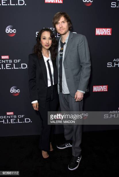 Producer Maurissa Tancharoen and Screenwriter Jed Whedon attend Marvels Agents of SHIELD 100th Episode Celebration in Hollywood California on...