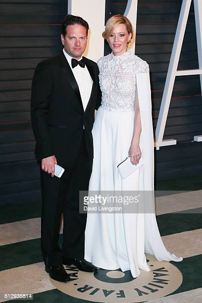 Producer Max Handelman and actress Elizabeth Banks arrive at the 2016 Vanity Fair Oscar Party Hosted by Graydon Carter at the Wallis Annenberg Center...