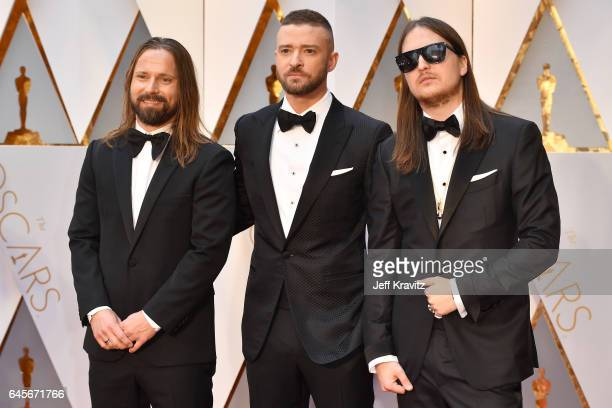 Producer Max Martin musician Justin Timberlake and producer Karl Johan Schuster attend the 89th Annual Academy Awards at Hollywood Highland Center on...